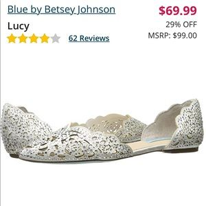 Lucy ivory satin rhinestone flat by Betsey Johnson